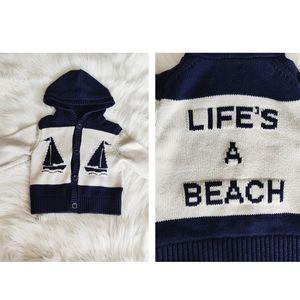 Baby Gap Life's A Beach Nautical Sweater Hoodie